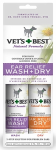 Vet's Best Ear Relief Wash & Dry 2 pk For Dogs (4 fl oz each)