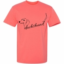 Women's T-Shirt - Dachshund Handwritten - Large (Coral Silk)