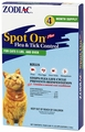 Zodiac Spot On Plus Flea & Tick Control For Cats over 5 lbs (4 pack)