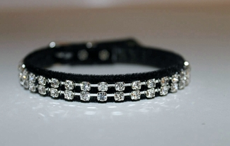 Austrian Crystal  & Black Velvet  Cat Collar