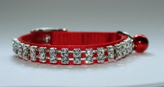 Austrian Crystal on Red Nylon Cat Collar