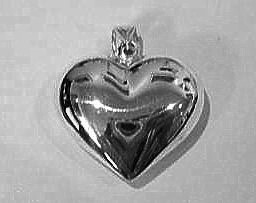 Sterling Silver Puffy Heart Charm for Pet Collars
