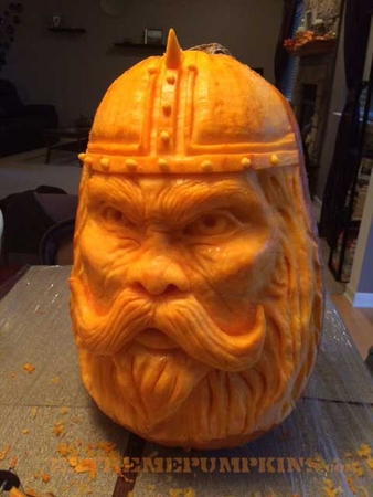 A Viking Pumpkin Sculpture