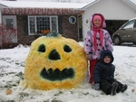 Eskimo Kids and Their Snow Pumpkin