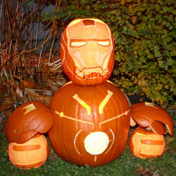Iron Man Pumpkin Sculpture