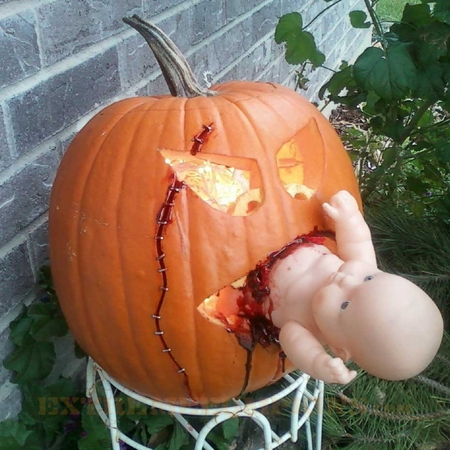The Baby Eating Pumpkin