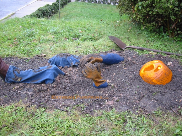 The Buried Alive Pumpkin Scene