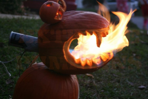 The Flaming Face Pumpkin