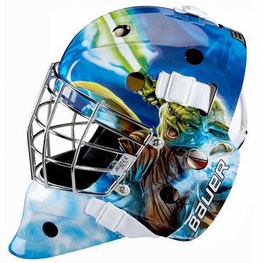 Bauer NME 3 Certified Straight Bar Hockey Goalie Mask - Yoda - Junior
