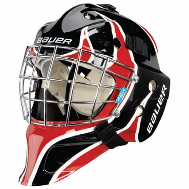 Bauer NME 3 Decal Junior Hockey Goalie Mask - Flame Black/Red