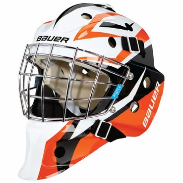 Bauer NME 3 Decal Senior Hockey Goalie Mask - Supreme Black/Orange
