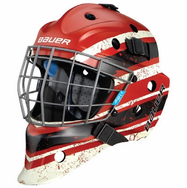 Bauer NME 5 Designs Junior Hockey Goalie Mask - Vintage Red/Black