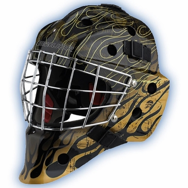 Bauer NME 7 Painted Senior Hockey Goalie Mask - Gold Flame