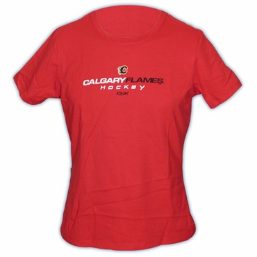 CCM 5162 On Ice Womens Short Sleeve Hockey Shirt - Calgary Flames