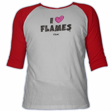 CCM 5166 Heart Womens Short Sleeve Hockey Shirt - Calgary Flames