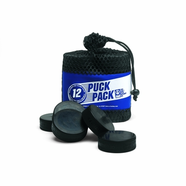 Ice Hockey Pucks w/Bag - 12 Pack