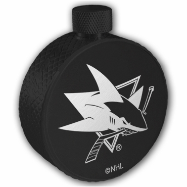 Lucky Puck Hockey Black Flask - San Jose Sharks