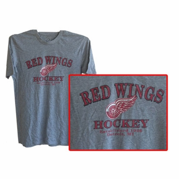 NHL Short Sleeve Hockey Shirt - Detroit Red Wings - Gray - Senior