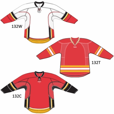 Reebok 25P00 Youth NHL Edge Gamewear Hockey Jersey - Calgary Flames