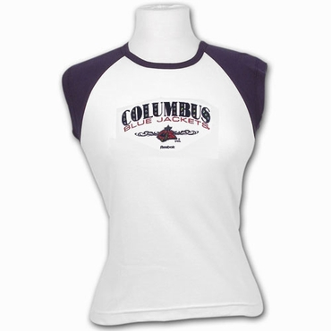 RBK 5033 Dazzled Womens Short Sleeve Hockey Shirt - Columbus Blue Jackets