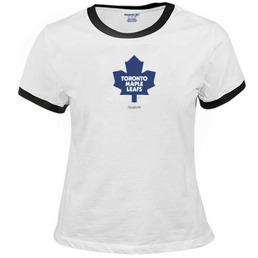 RBK 5110 Cold Stress White Womens Short Sleeve Hockey Shirt - Toronto Maple Leafs