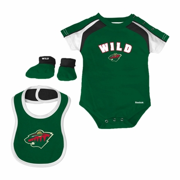 Reebok Creeper, Bib, Bootie Youth Set - Minnesota Wild