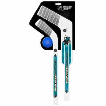 Sherwood Breakaway 3 Piece Mini Goalie & Player Stick with Foam Ball - San Jose Sharks