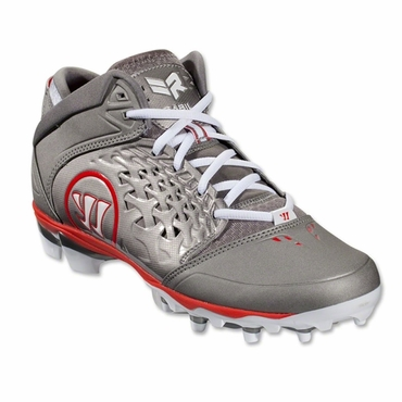 Warrior Adonis Senior Lacrosse Cleats - Red/Gray