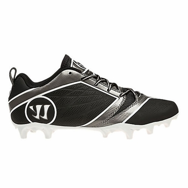 Warrior Burn 6.0 Mid Senior Lacrosse Cleats - Black/Black
