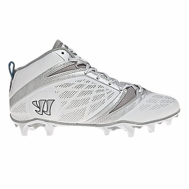Warrior Burn 6.0 Mid White Senior Lacrosse Cleats