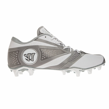 Warrior Burn 7.0 Senior Low Cut Lacrosse Cleat - White/Silver