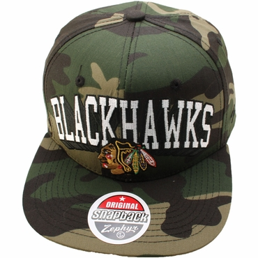Zephyr Chicago Blackhawks Army Adjustable Hockey Hat - Chicago Blackhawks