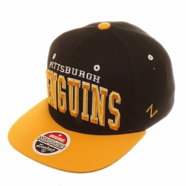 Zephyr Super Star Snapback Hockey Hat - Pittsburgh Penguins - Black/Yellow