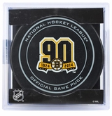 Boston Bruins Official NHL Game Puck with Cube
