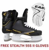 Easton Stealth 55S Jr. Ice Hockey Skates w/ Free Stealth 55S II Jr. Gloves