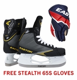 Easton Stealth 65S Jr. Ice Hockey Skates w/ Free Stealth 65S Jr. Gloves