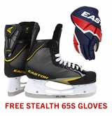 Easton Stealth 65S Sr. Ice Hockey Skates w/ Free Stealth 65S Sr. Gloves