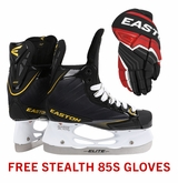 Easton Stealth 85S Jr. Ice Hockey Skates w/ Free Stealth 85S Jr. Gloves