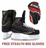Easton Stealth 85S Sr. Ice Hockey Skates w/ Free Stealth 85S Sr. Gloves