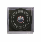 Edmonton Oilers Official NHL Game Puck with Cube