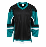 Firstar Stadium Hockey Jersey - Black/Teal/White