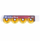 Labeda Dynasty III X-Soft 74A Roller Hockey Wheel - White/Yellow - 4 Pack