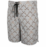 Monkey Sport by Pepper Foster - Hockey Stick Adult Swim Trunks (Grey)