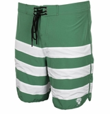 Monkey Sport by Pepper Foster - Triple Stripe Adult Swim Trunks (Forest Green)
