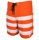 Monkey Sport by Pepper Foster - Triple Stripe Adult Swim Trunks (Orange)