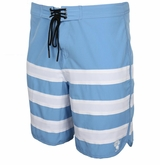 Monkey Sport by Pepper Foster - Triple Stripe Adult Swim Trunks (Sky Blue)