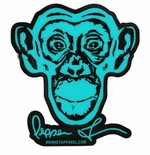 Monkey Sport by Pepper Foster - Monkey Logo Sticker (Teal)