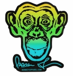 Monkey Sport by Pepper Foster - Monkey Logo Sticker (Yellow/Blue)