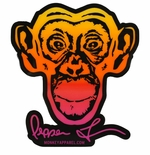Monkey Sport by Pepper Foster - Monkey Logo Sticker (Yellow/Pink)