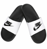 Nike Benassi JDI Boy's Sandals - White/Black
